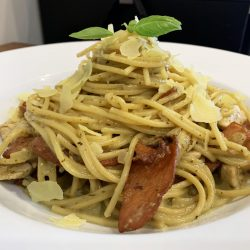 Chicken & bacn Pesto Spaghetti